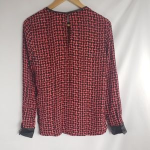 Zara Tops - Zara Woman Red Black Basket Weave Blouse
